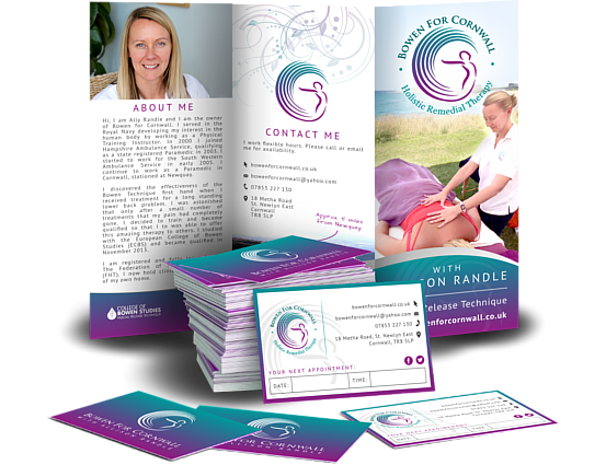 Bowen Health Brochure Leaflet Design Business Cards Print CRJ Design Newquay