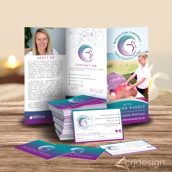 Bowen Health Print Branding Business Cards Leaflets Brochures CRJ Design Newquay
