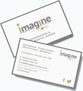 Imagine stone crj design the business cards match the imagine stone house style and serif fonts give a traditional look to the otherwise modern design this hints at how pats work reheart Gallery