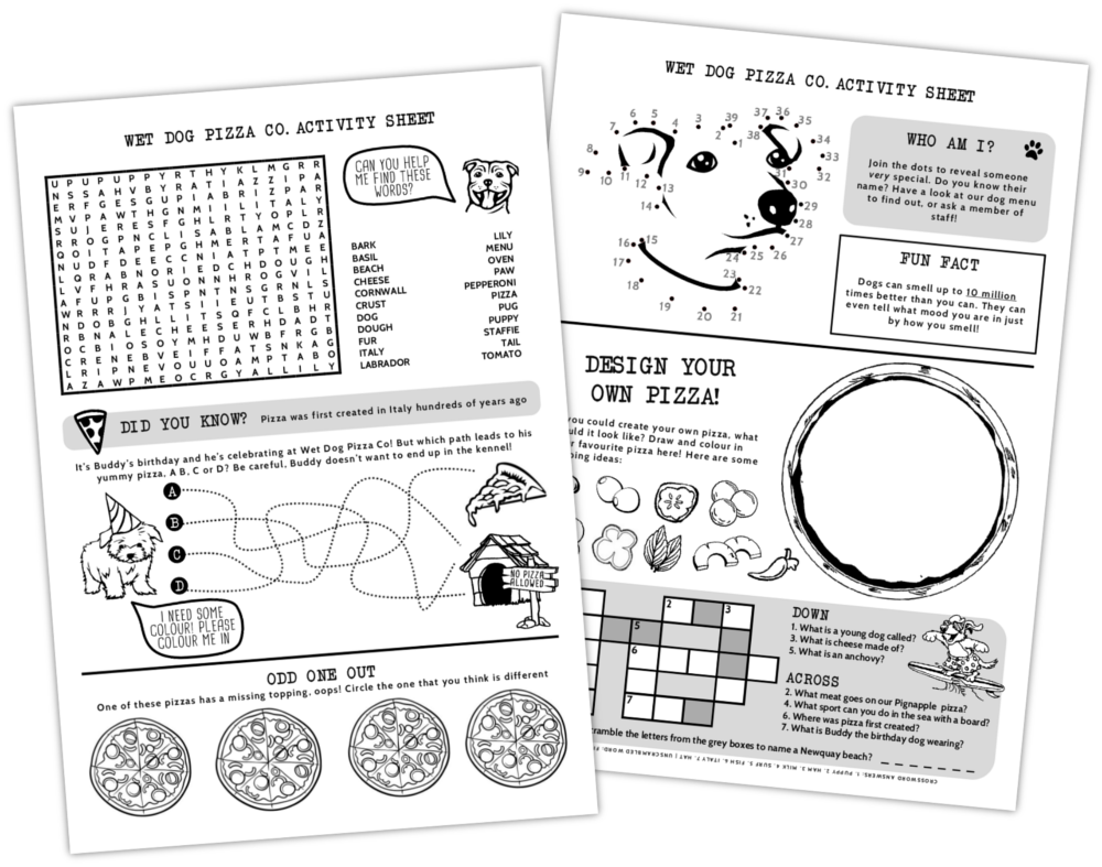 Pizza Activity Sheets Children Kids Branding Print by CRJ Design Newquay