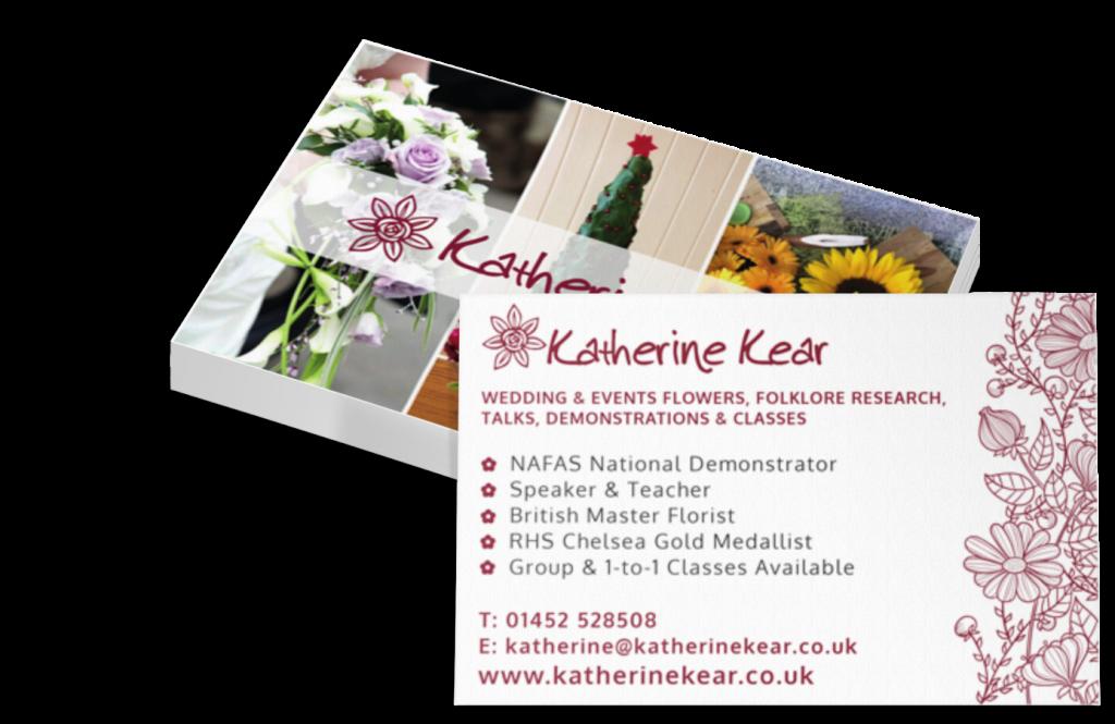 Katherine Kear Florist NAFAS Business Card Branding by CRJ Design Newquay