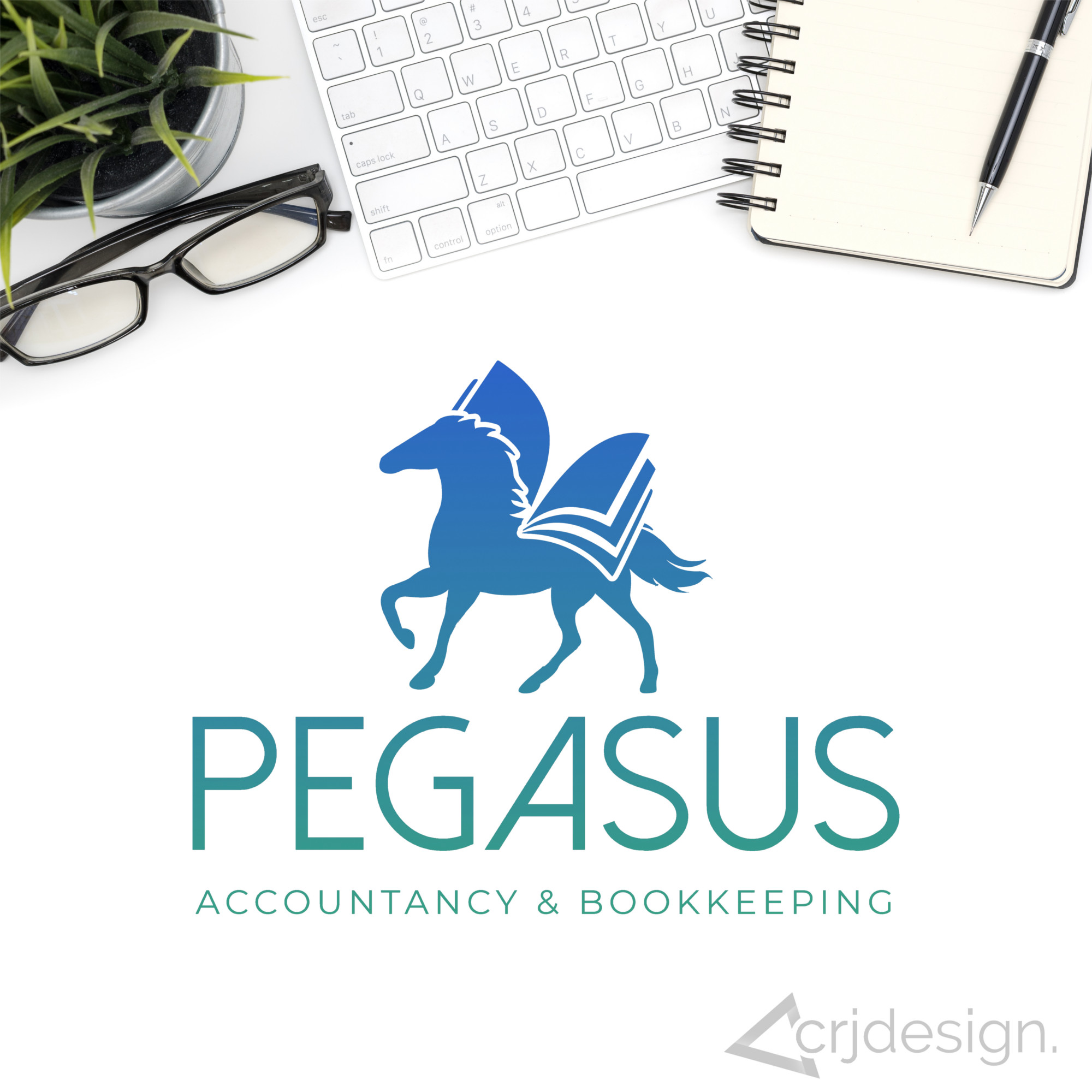 Pegasus Accountancy Bookkeeping Accountant Cornwall Logo Branding by CRJ Design Newquay