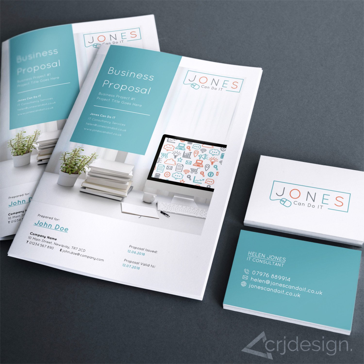Jones Can Do IT Consultant Newquay Branding Logo Business Cards Stationery by CRJ Design